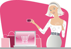 Internet shopping. Vector illustration of a woman shopping on internet royalty free illustration