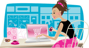 Internet shopping. Vector illustration of a girl using internet for shopping at cafe royalty free illustration