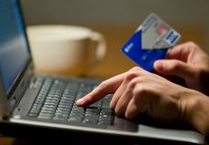 Internet Shopping. Person with Credit Card Shopping Online royalty free stock photo