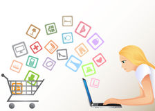 Internet shopping. The girl buys goods through Internet Stock Photo