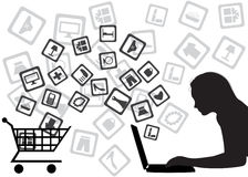 Internet shopping. The girl buys goods through Internet Stock Photos