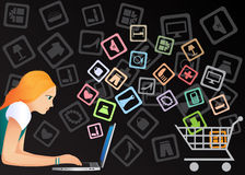 Internet shopping. The girl buys goods through Internet vector illustration