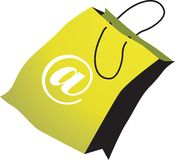Internet shopping. Silhouette of internet symbol printed shopping bag
