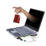 Internet Shopping. Laptop on white backgraund Stock Photo