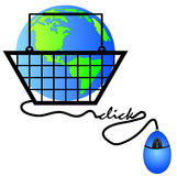 Internet shopping. Hand basket connected to internet shopping - international shopping Royalty Free Stock Photos