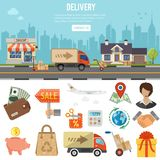 Internet Shopping Banner. Online internet shopping and delivery banner and infographics. Flat Style Icons shop, delivery, sale, storage and house. Isolated Royalty Free Stock Image