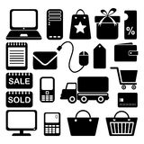Internet shopping business icons set, black isolat Stock Images