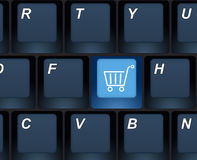 Internet shopping buy key on a computer keyboard. Closeup of a computer keyboard, e-commerce concept illustration Stock Photos