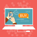 Internet shopping buy now online store e-commerce process Royalty Free Stock Photos