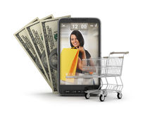 Internet shopping by cell phone Stock Images