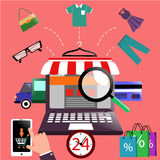 Internet shopping concept laptop with awning Royalty Free Stock Images