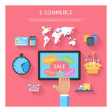 Internet shopping concept with monitor screen Stock Photos