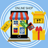 Internet shopping concept smartphone with awning Royalty Free Stock Photography