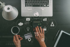 Internet shopping concept.Top view of hands working with calcula Royalty Free Stock Images