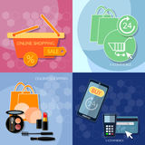 Internet shopping concept woman shopping mobile payments set Royalty Free Stock Photos
