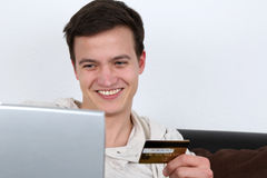Internet shopping with credit card Stock Photos