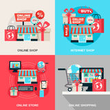 Internet Shopping Decorative Icon Set Stock Image
