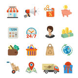 Internet Shopping and Delivery Flat Icon Set Stock Photos