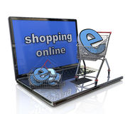 Internet shopping. In the design of the information related to trade and the Internet Royalty Free Stock Images