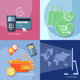Internet shopping e-commerce icons banking mobile payments set Royalty Free Stock Images