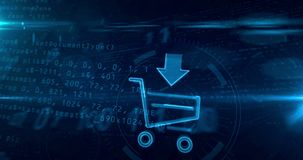 Internet shopping icon with cart loop
