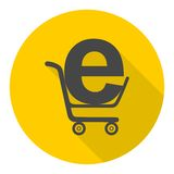 Internet shopping icon with long shadow Royalty Free Stock Photo