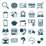 Internet shopping icon set in flat design style Royalty Free Stock Photos