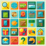 Internet shopping icon set in flat design style Royalty Free Stock Photo