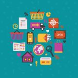 Internet shopping icons set Stock Photo
