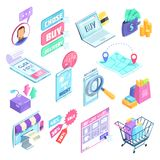 Internet Shopping Isometric Set. Internet shopping set of isometric icons with search and choice of products, buying online, isolated vector illustration Royalty Free Stock Image