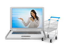 Internet shopping - laptop and shopping cart Royalty Free Stock Photos