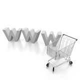 Internet shopping market. Internet 3d shopping cart concept with white background Stock Photo