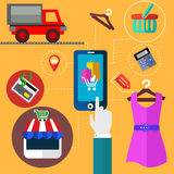 Internet shopping and mobile banking concept Royalty Free Stock Photography