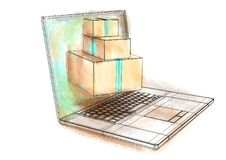 Internet shopping. Multicolor notebook and boxes on white Stock Image