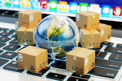 Internet shopping, online purchases, e-commerce, international package delivery concept Stock Photo