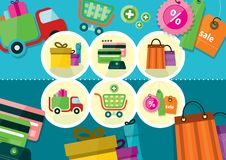 Internet shopping process and delivery icons Stock Images