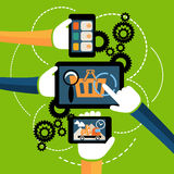 Internet shopping process and delivery. Internet shopping process of purchasing and delivery. Business online sale icons. Icons of buying product via online shop Stock Photography