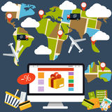 Internet shopping process and delivery Royalty Free Stock Photography