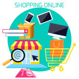 Internet shopping process and delivery Royalty Free Stock Image