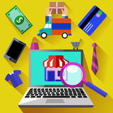 Internet shopping process and delivery. Internet shopping process of purchasing and delivery. Business online sale icons. Icons of buying product via online shop Royalty Free Stock Photos