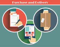 Internet shopping process of purchasing. This is file of EPS10 format Stock Image