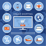 Internet shopping set. Royalty Free Stock Photos