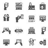 Internet Shopping Silhouette Icon Set Royalty Free Stock Photo
