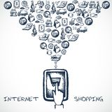 Internet Shopping Sketch Concept Royalty Free Stock Photography