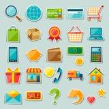 Internet shopping sticker icon set Royalty Free Stock Photos