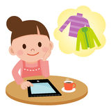 Internet shopping on a Tablet PC Royalty Free Stock Photos