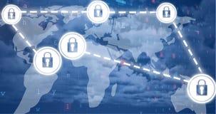 Internet-Sicherheit Ikonen-Video 4k lizenzfreie abbildung