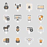 Internet-Sicherheits-Ikonen-Aufkleber-Satz Lizenzfreies Stockbild