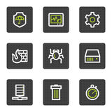 Internet-Sicherheitsweb-Ikonen, graue quadratische Tasten Lizenzfreie Stockfotografie