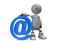 Internet sign. 3d rendered illustration of a little robot and an at sign Royalty Free Stock Photo